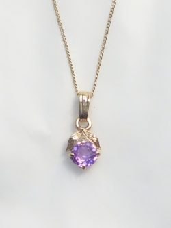 10k purple stone charm and chain
