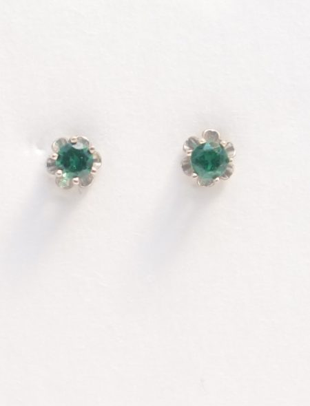 14k white gold earrings with green stone