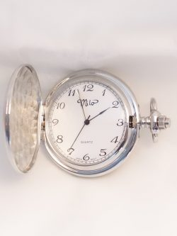 white toned pocket watch