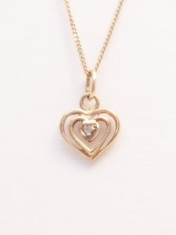 10k diamond heart charm and chain
