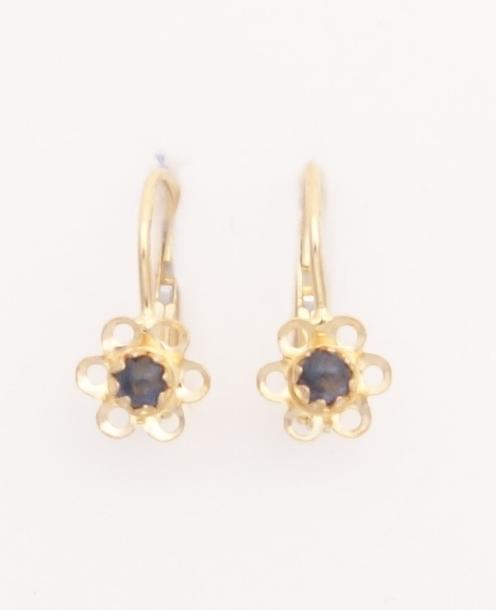 14k flower earrings with a dark blue stone