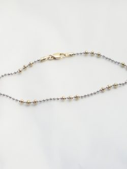 14k yellow and white gold beaded bracelet 2