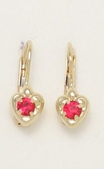 18k heart earrings with red stones