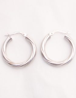 18k white gold twisted hoop earrings