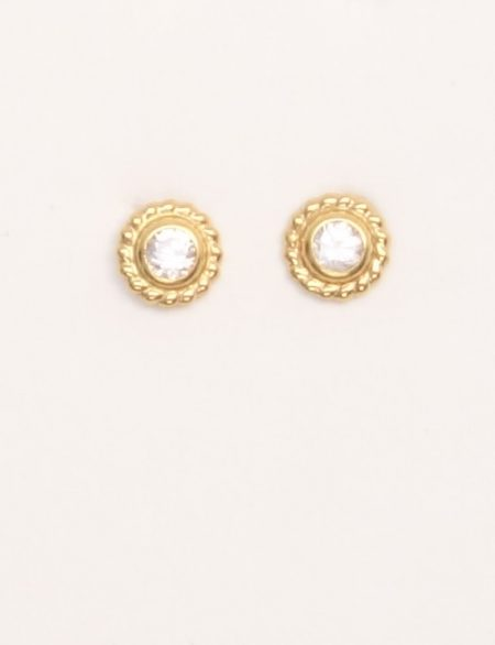 18k yellow gold stud earrings with white stones