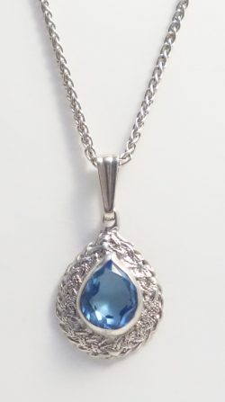 sterling silver blue stone teardrop charm and chain