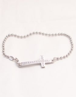 sterling silver cross bracelet with white stones