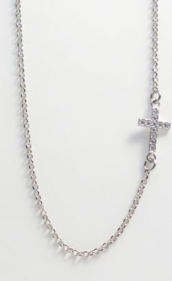 sterling silver cross chain with white stones
