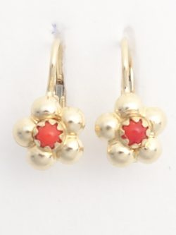 14k flower earrings with corals