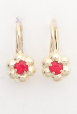 14k flower earrings with red stones