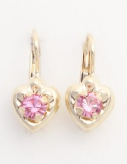14k large heart earrings with pink stones