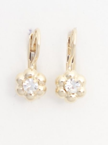 14k yellow gold flower earrings with white stones