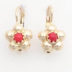 18k flower earrings with corals
