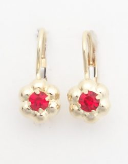 18k flower earrings with red stones