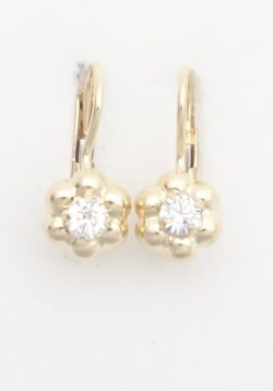 18k flower earrings with white stones