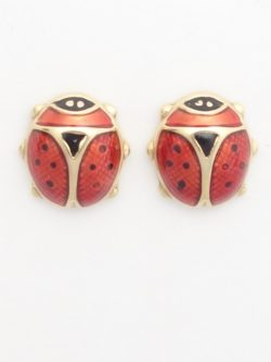 18k stud ladybug earrings