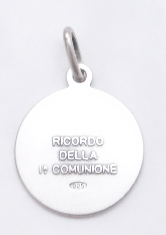Sterling silver First Communion Medal (back view)-med