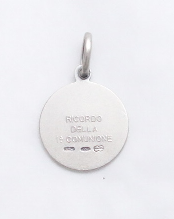 Sterling silver First Communion Medal (back view)-sml