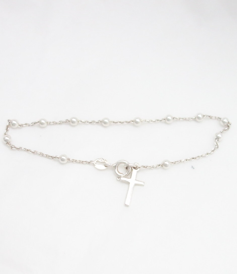sterling silver rosary bracelet with small beads