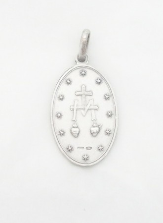 sterling siver Miraculous medal large (back)