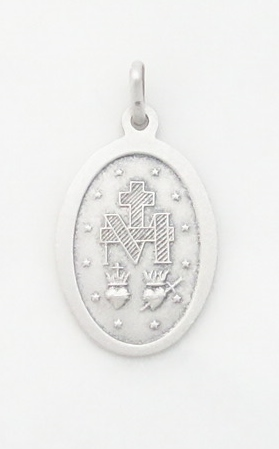 sterling siver Miraculous medal medium (back)