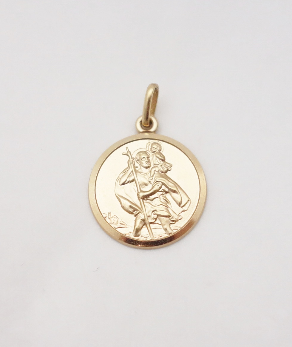 14k st.christopher medal large
