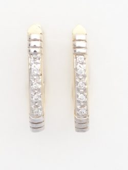 14k yellow and white diamond hoop earrings