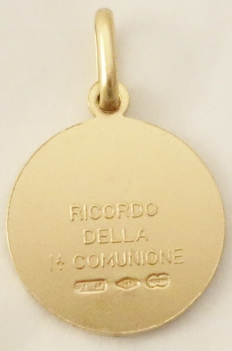 14k communion medal med back