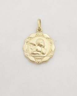 14k hollow angel medal lrg