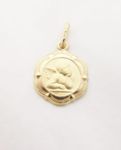 14k hollow angel medal med