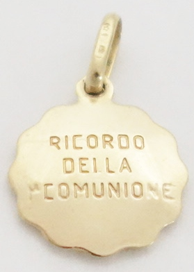 14k hollow communion medal sml back