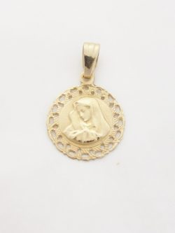 14k madonna medal fancy trim
