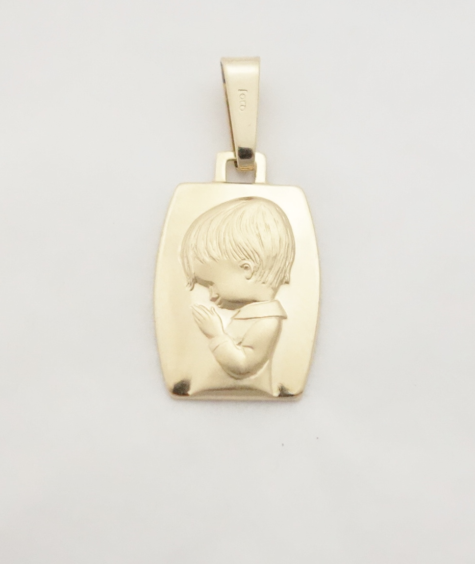 14k praying boy medal