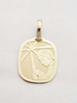 14k rectangular confirmation medal lrg