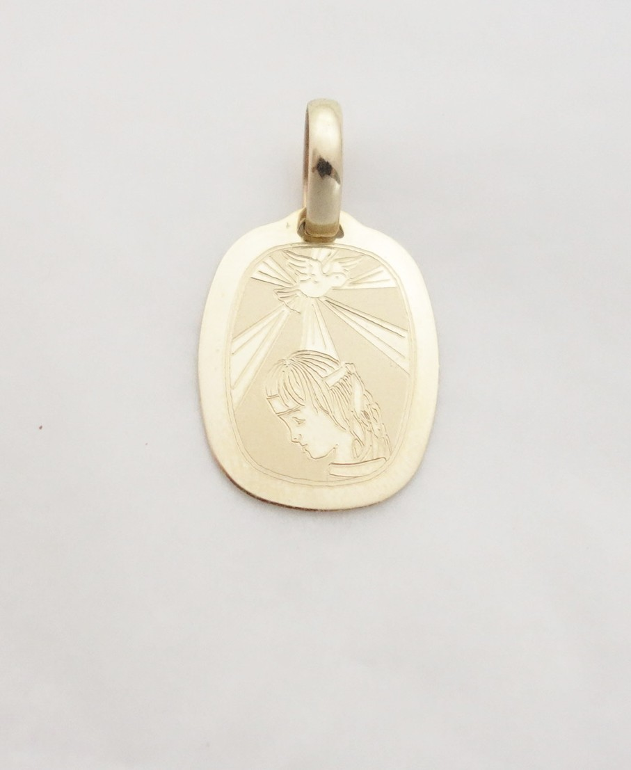 14k rectangular confirmation medal med