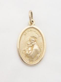 14k st.anthony and st.francis medal