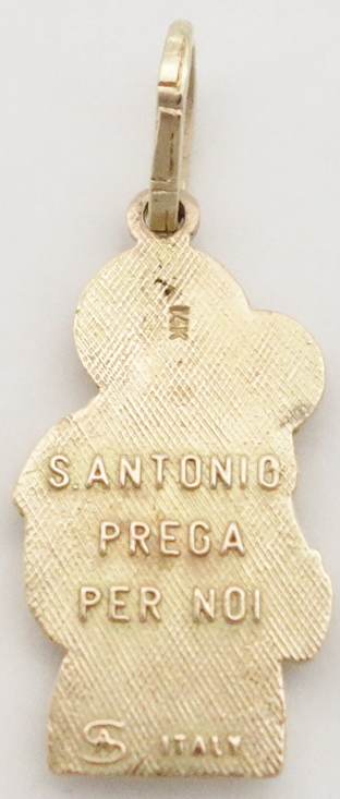 14k st.anthony medal back