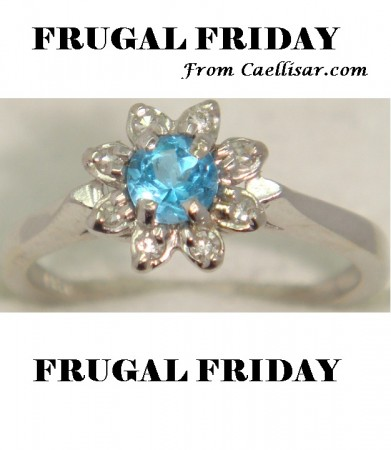 ff 14k white gold ring with diamonds and blue topaz