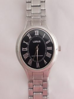 ladies lorus black roman numeral dial oval watch