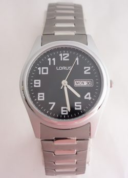 mens lorus black dial silver toned watch