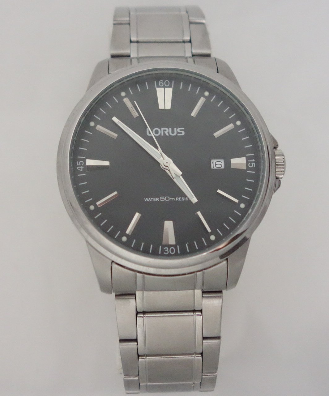mens lorus large black dial watch