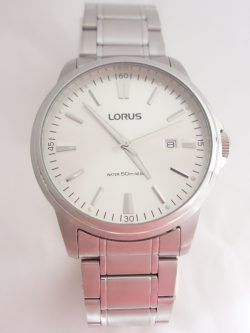 mens lorus large white dial watch