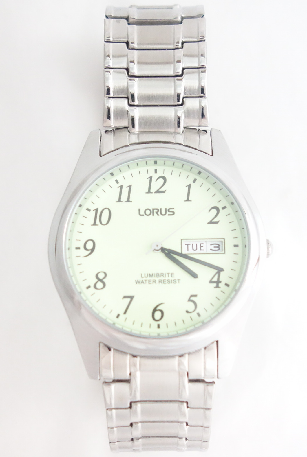 mens lorus lumibrite silver toned watch