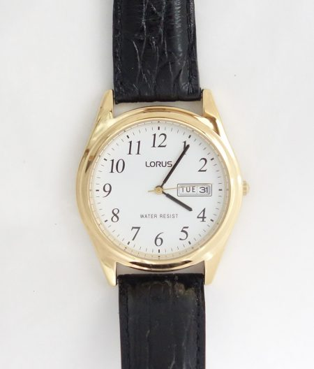 mens lorus white dial gold toned leather strap watch