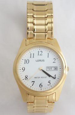 mens lorus white dial yellow tone watch