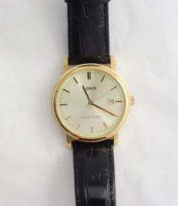 mens lorus yellow dial and leather strap