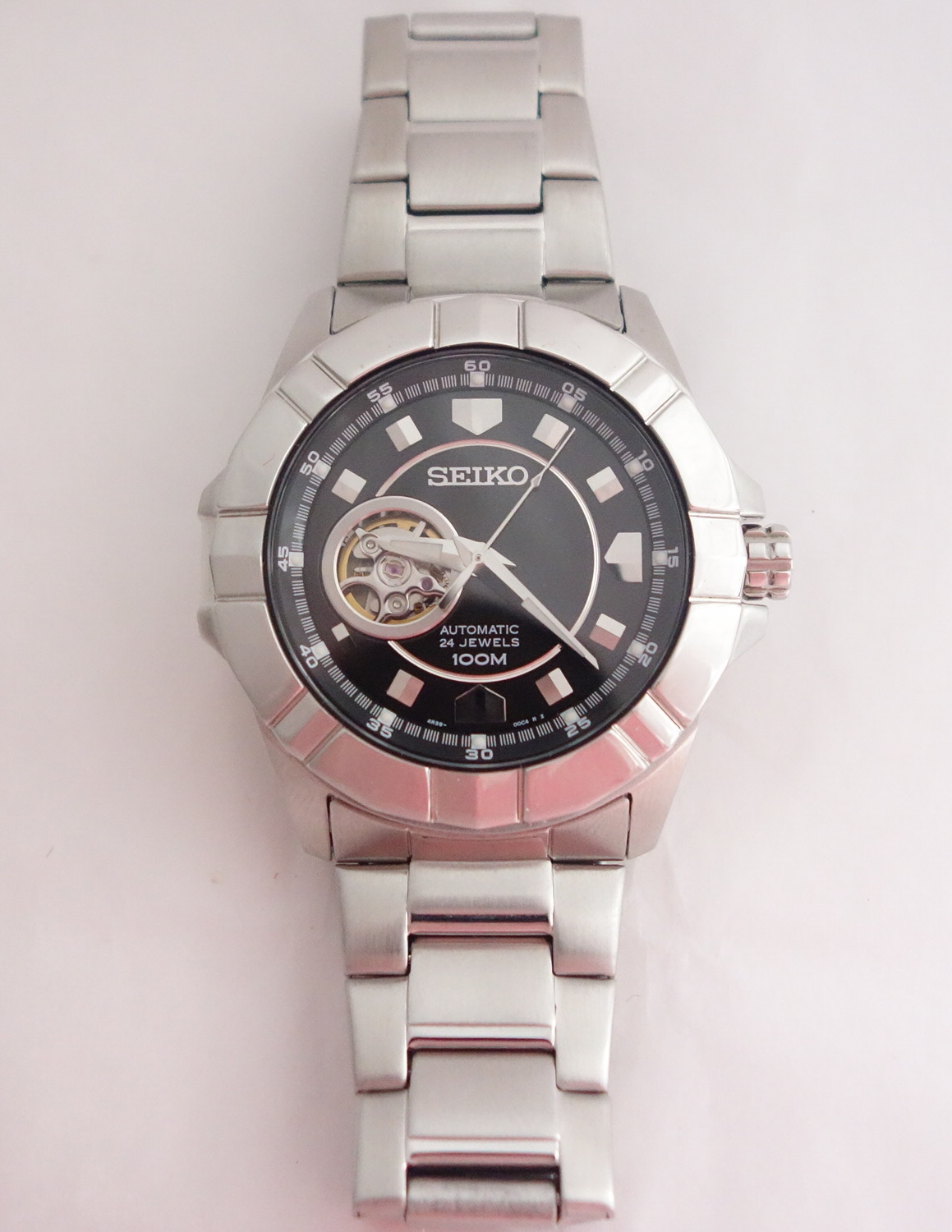 mens seiko black dial silver toned automatic watch