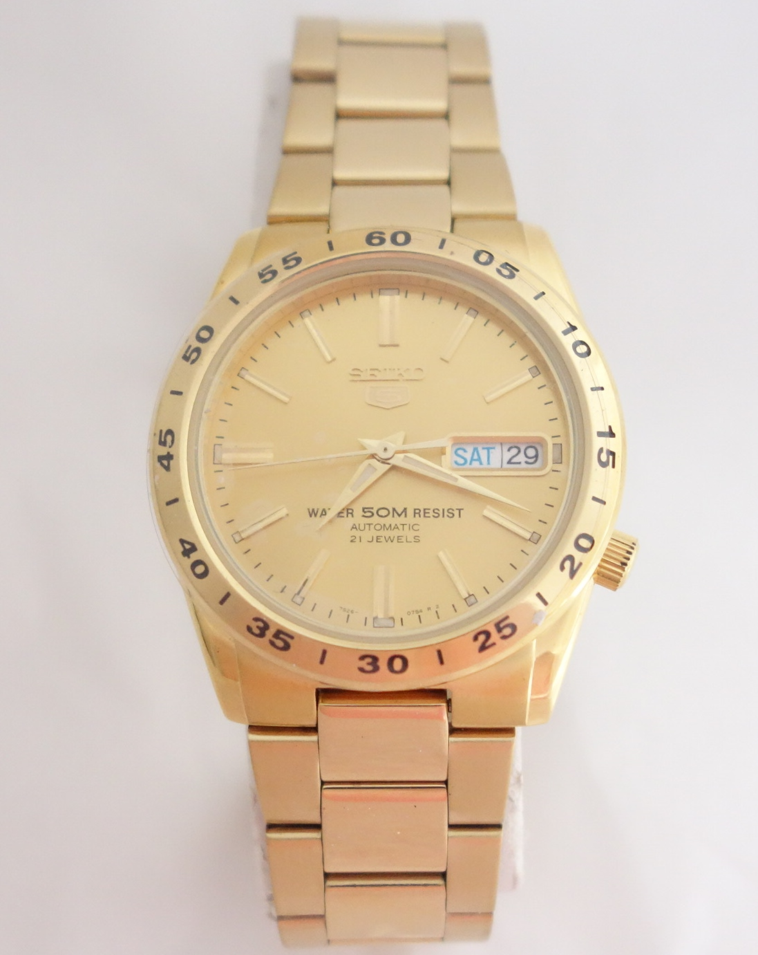 mens seiko yellow automatic watch