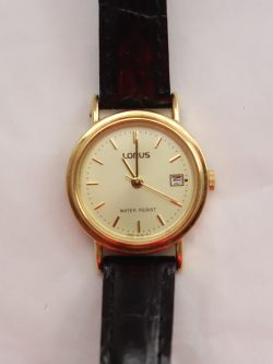 womens lorus gold dial leather strap