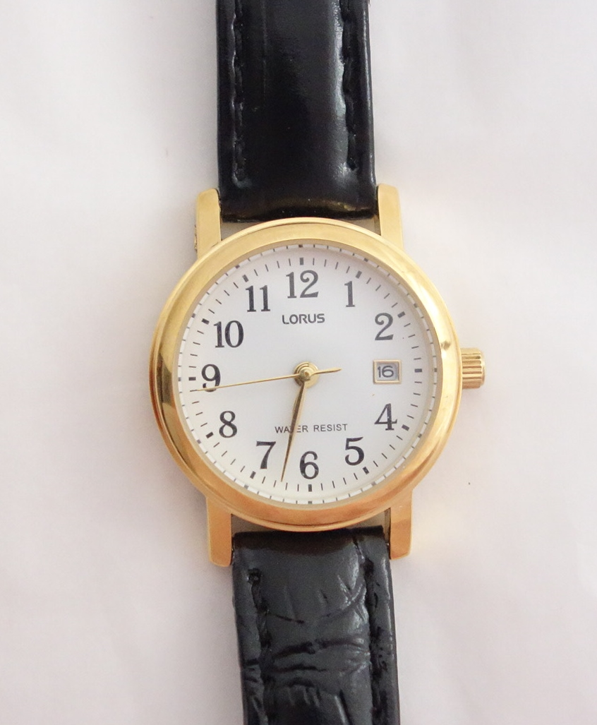 womens lorus with date and leather strap